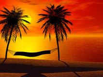 Una hamaca en puesta del sol Fotos de archivo