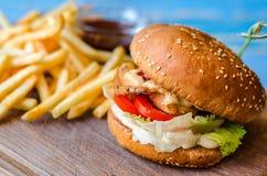 Una hamburguesa, patatas fritas y salsa Imagenes de archivo