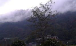 Una hermosa vista con el cielo de las nubes de las colinas del árbol en una sola imagen imágenes de archivo libres de regalías