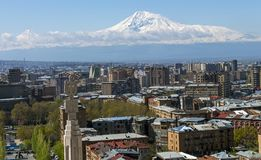 Una hermosa vista de la montaña Ararat imagenes de archivo
