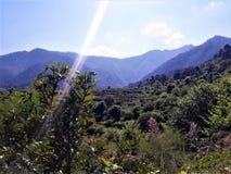 Una hermosa vista de montañas verdes imagen de archivo