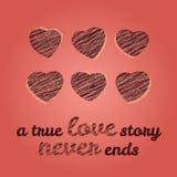 'Una historia de amor verdadera nunca termina' tipografía Tarjeta del amor del día de tarjeta del día de San Valentín Fotografía de archivo libre de regalías