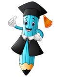Una historieta del lápiz que lleva un casquillo de la graduación con el donante de los pulgares para arriba Imagen de archivo