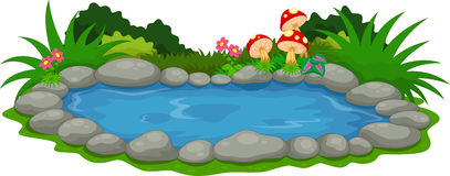 Una historieta del pequeño lago ilustración del vector