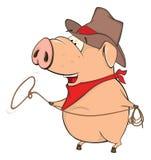 Una historieta linda del animal del campo de cerdo stock de ilustración