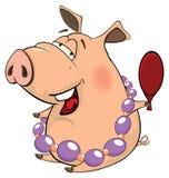 Una historieta linda del animal del campo de cerdo Imagen de archivo