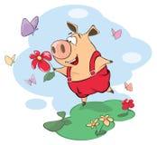 Una historieta linda del animal del campo de cerdo Imagenes de archivo
