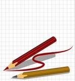 Una hoja de papel en una jaula y dos lápices Imagenes de archivo