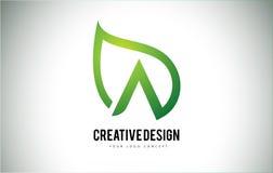 Una hoja Logo Letter Design con el esquema verde de la hoja Fotos de archivo