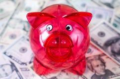 Una hucha transparente del cerdo en un fondo de cuentas de dólares foto de archivo