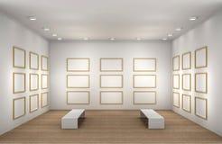 Una ilustración de un cuarto vacío del museo con los marcos Fotografía de archivo libre de regalías