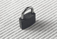 Una imagen blanco y negro del concepto que se puede utilizar para representar seguridad cibernética o la protección de codifica e imágenes de archivo libres de regalías