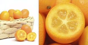 Una imagen de la díptica de la fruta del kumquat Imagen de archivo