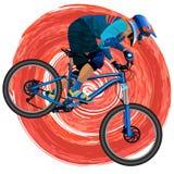 Una imagen de un ciclista en una bici de montaña Fotos de archivo