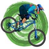 Una imagen de un ciclista en una bici de montaña Foto de archivo