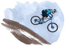 Una imagen de un ciclista que desciende en una bici de montaña en una cuesta Fotos de archivo libres de regalías