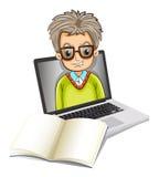 Una imagen de un hombre dentro de un ordenador portátil con un cuaderno vacío Foto de archivo libre de regalías