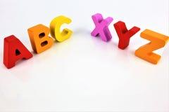 Una imagen del concepto de las letras de ABC con el espacio de la copia Fotografía de archivo