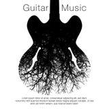 Una imagen imponente de una guitarra y de un árbol ilustración del vector