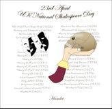 Una imagen para el día nacional BRITÁNICO de Shakespeare stock de ilustración