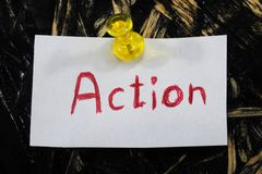 Una inscripción simple y comprensible, acción Fotos de archivo libres de regalías