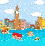 Una inundación en ciudad grande ilustración del vector