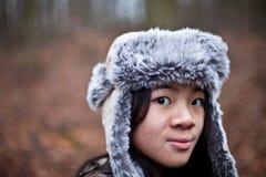 Una inverno-ragazza Fotografie Stock