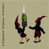 Una invitación a una fiesta de Navidad los duendes de Santa Claus con champán Feliz Año Nuevo de la inscripción Imagenes de archivo