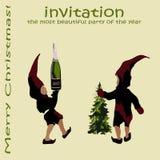 Una invitación a una fiesta de Navidad los duendes de Santa Claus con champán y el árbol de navidad Muestra de la Feliz Navidad Imagen de archivo libre de regalías