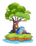 Una isla con una casa en el árbol y un monstruo con un niño Fotografía de archivo libre de regalías