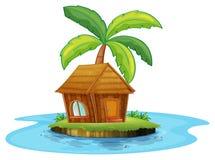 Una isla con una choza del nipa y una palmera Foto de archivo