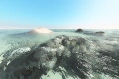 Una isla y el mar Fotografía de archivo