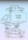 Una línea composición de los coches Imagen de archivo libre de regalías