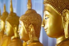 Una línea de estatuas de oro del Buda fotos de archivo