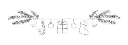 Una línea frontera de los símbolos de la Navidad: brunch del árbol de navidad, bastón de caramelo, bolas, regalo, calcetín libre illustration