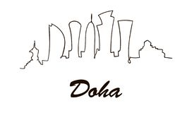 Una línea horizonte de la ciudad de Doha del estilo Vector minimaistic moderno simple del estilo libre illustration