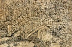 Una l?nea dibujo del arte de un puente sobre una peque?a cala en un parque stock de ilustración