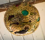 Una lampada con un nido del ` s dell'uccello che pende da un soffitto in Isole Sopravento meridionali Immagine Stock Libera da Diritti