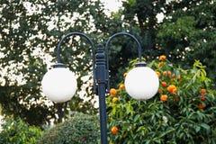 Una lampada del parco, queste luci è accesa nella notte per la sicurezza fotografia stock libera da diritti