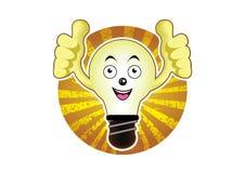 Una lampadina del fumetto con un'idea luminosa Fotografia Stock