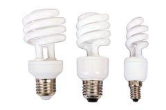 Una lampadina di tre luci fluorescenti Fotografia Stock Libera da Diritti