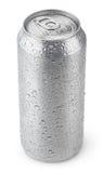 una latta di alluminio da 500 ml con le gocce di acqua fotografia stock libera da diritti