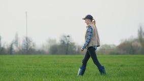 Una lavoratrice agricola va al suo campo in cui il frumento autunnale ha germogliato video d archivio