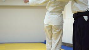 Una lección en Aikido almacen de metraje de vídeo