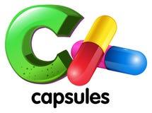 Una letra C para las cápsulas Imagenes de archivo