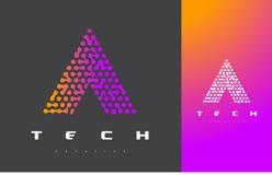 Una letra Logo Technology Dots Letter Design Vector conectado Imagen de archivo libre de regalías