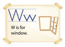 Una letra W para la ventana Imágenes de archivo libres de regalías