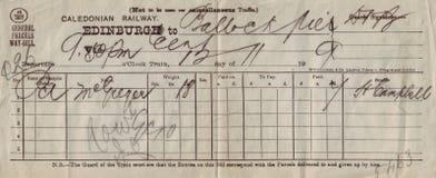 Una lettera di vettura dalla ferrovia caledoniana, 1909 immagini stock libere da diritti