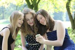 Una lettura felice di tre adolescenti sms su un telefono cellulare come si siedono raggruppato insieme su una coperta sull'erba in Fotografie Stock