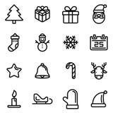 una linea perfetta icone di 16 pixel ha fissato il tema di Natale, progettazione di vettore Immagine Stock